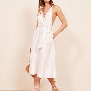 Reformation Maggie Midi Wrap Dress White Linen